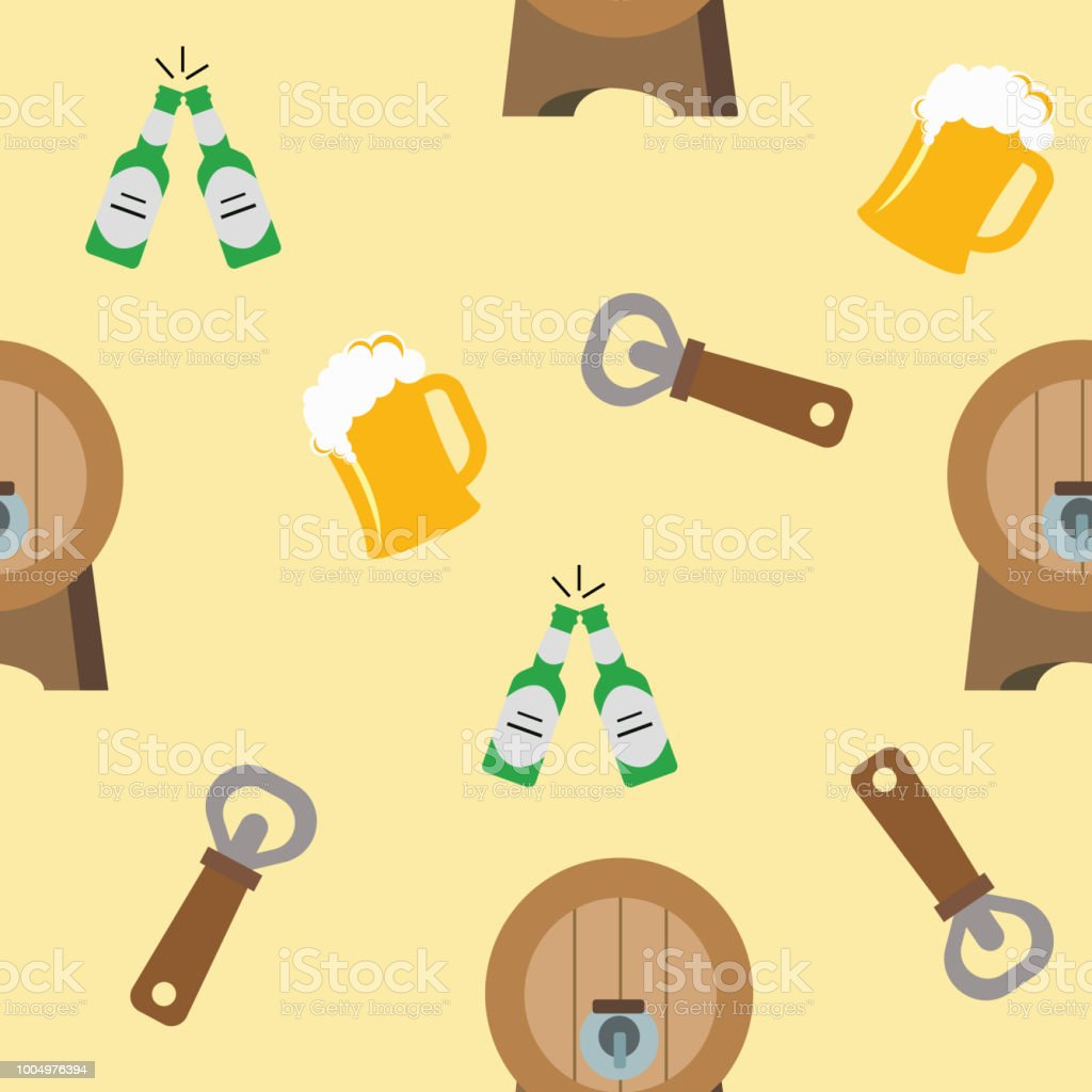 Openers barrels and beer on the yellow background. Pattern objects. Vector illustration. vector art illustration