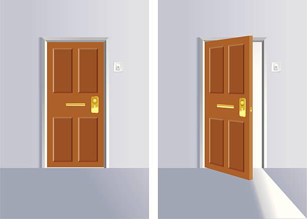 Opening and close door Illustration of Lock and Open doors. front door stock illustrations