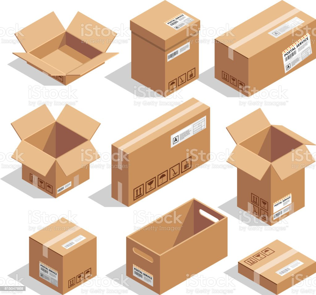 Opening and closed cardboard boxes. Isometric illustration set vector art illustration