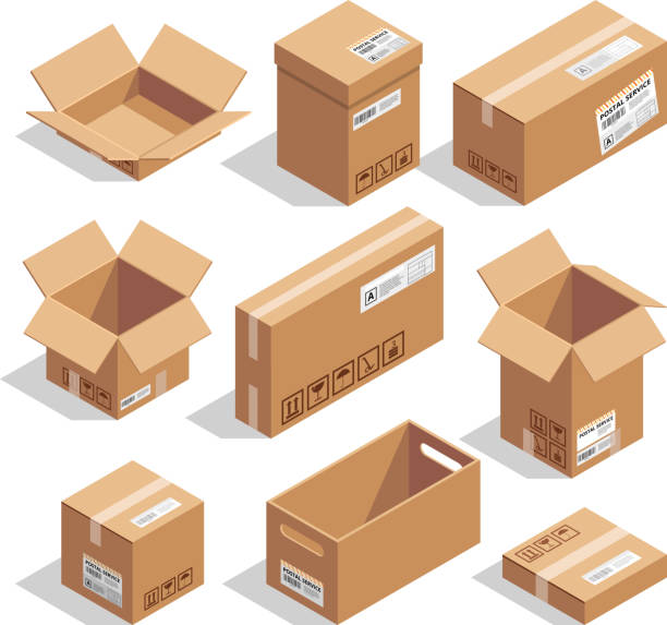 Opening and closed cardboard boxes. Isometric illustration set Opening and closed cardboard boxes. Isometric cardboard box open and closed for delivery and packaging illustration set vector cardboard box stock illustrations