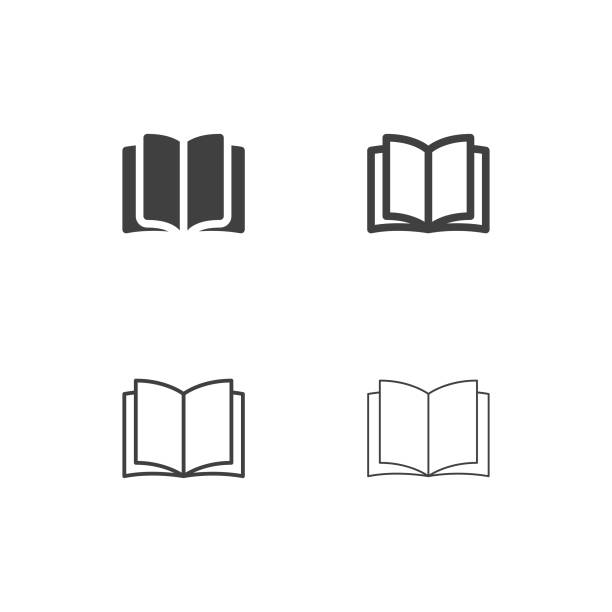 opening book icons - multi series - book icons stock illustrations