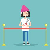 Opening ceremony concept. Red ribbon. Young girl holding scissors