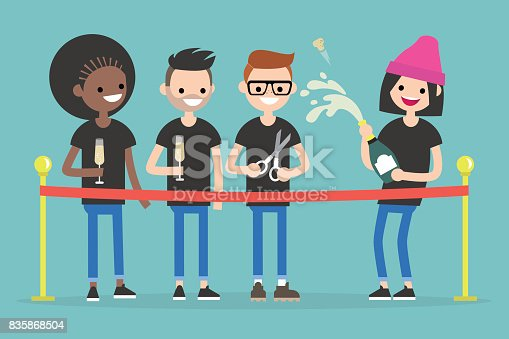 Opening ceremony. Cutting the red ribbon. A group of excited millennials opening the event / flat editable vector illustration, clip art
