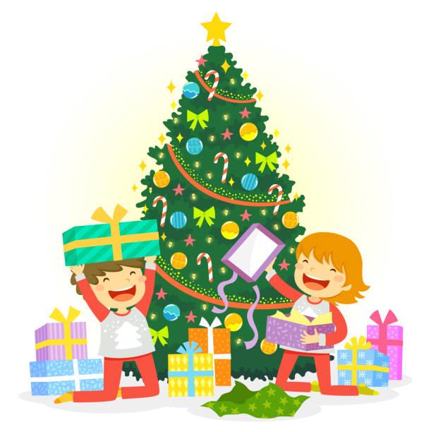 bildbanksillustrationer, clip art samt tecknat material och ikoner med öppettider jul presenterar - christmas gift family