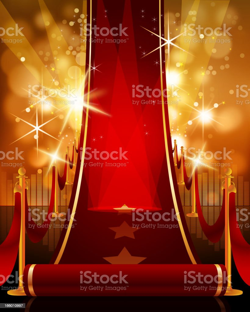 Opening Long Bright Red Carpet royalty-free stock vector art