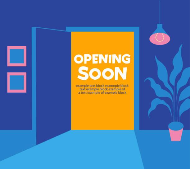 ilustrações, clipart, desenhos animados e ícones de abrindo em breve. uma porta aberta da sala para o exterior. o fim do auto-isolamento. - aberto