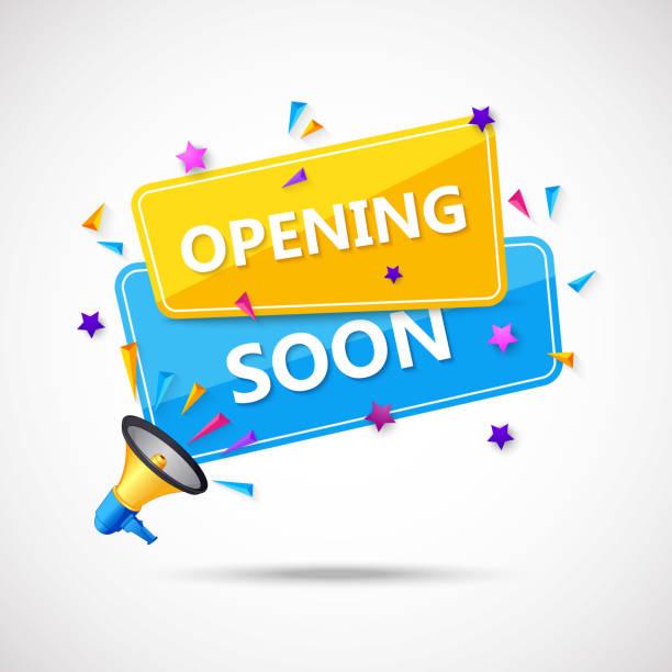 ilustraciones, imágenes clip art, dibujos animados e iconos de stock de próxima apertura composición de fondo con diseño plano - gran inauguración