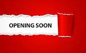 Vector illustration of Opening soon background with paper sign