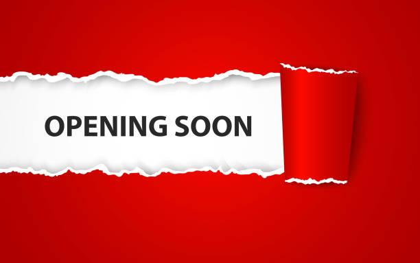 ilustraciones, imágenes clip art, dibujos animados e iconos de stock de apertura fondo con signo de papel - gran inauguración