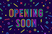 Opening Soon. Banner, speech bubble, poster and sticker concept, geometric style with text opening soon. Message opening soon for banner, poster, web,, graphic on blue background. Vector Illustration