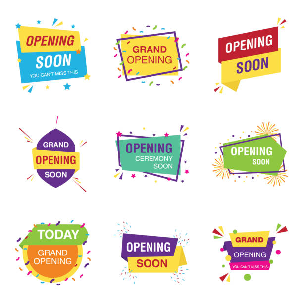 Opening Soon Banners Vectors Opening soon banners vectors exhibiting alluring and  fascinating visuals logos meets the features of grand opening ceremony vectors. Select and download it! inauguration stock illustrations