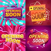 Opening soon cartoon banners vector promotion and announcement design. Comic bubbles on bright background with lightning bolts, geometric shapes and spots, grand opening soon event invitation flyer