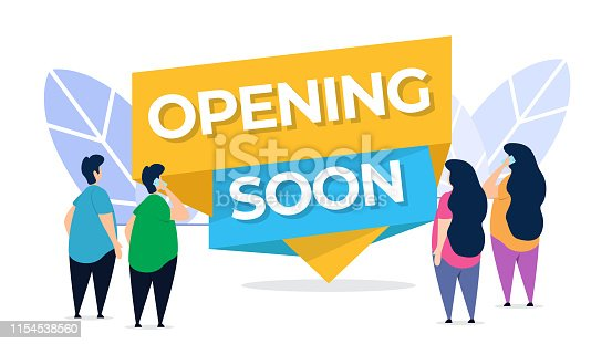 opening soon creative illustration vector of graphic , small people in opening soon service flat illustration vector , vector flat illustration for website landing page