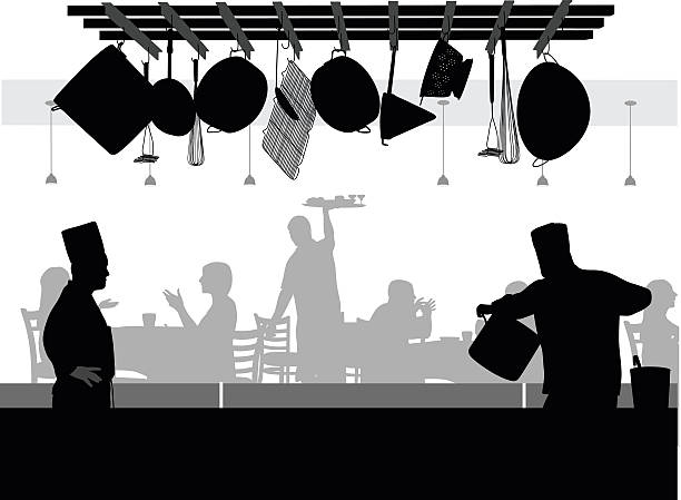 OpenKitchen A-Digit cooking silhouettes stock illustrations