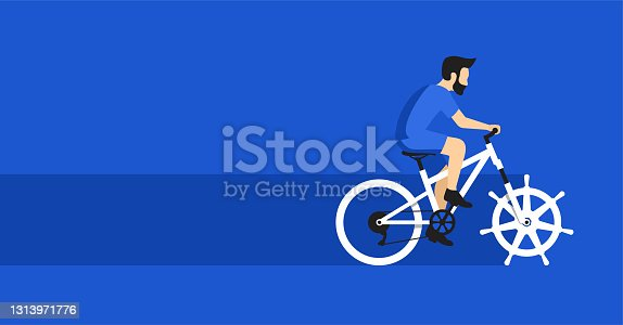 istock Open-source system - developer as bicyclist 1313971776