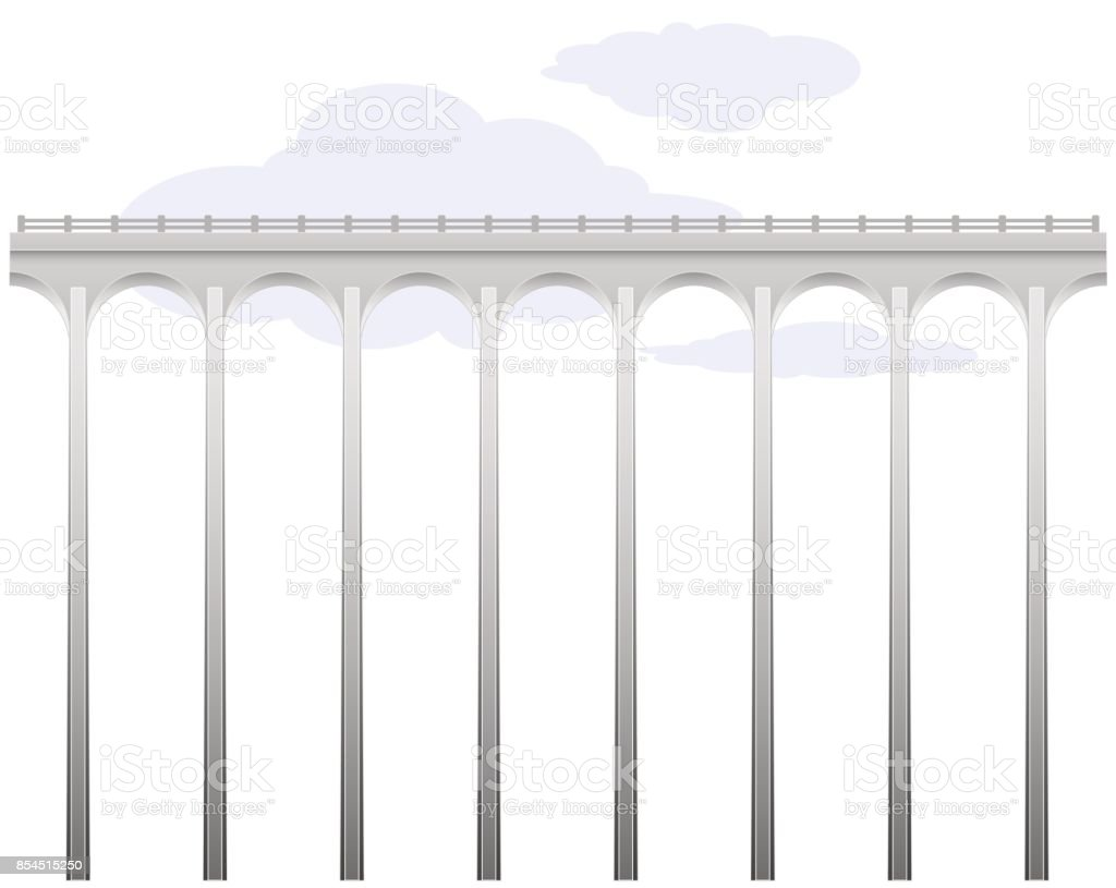 Openwork arch concrete bridge. Transport infrastructure. Connecting the banks. Above the abyss. Dangerous path. vector art illustration