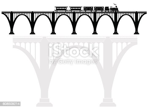 Openwork arch concrete bridge with a steam locomotive. Transport infrastructure. Transportation of passengers. Black and white.