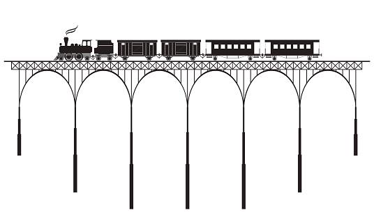 openwork bridge and locomotive
