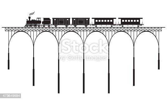 silhouette of openwork bridge and locomotive