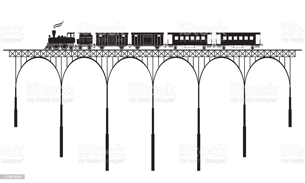 openwork bridge and locomotive vector art illustration