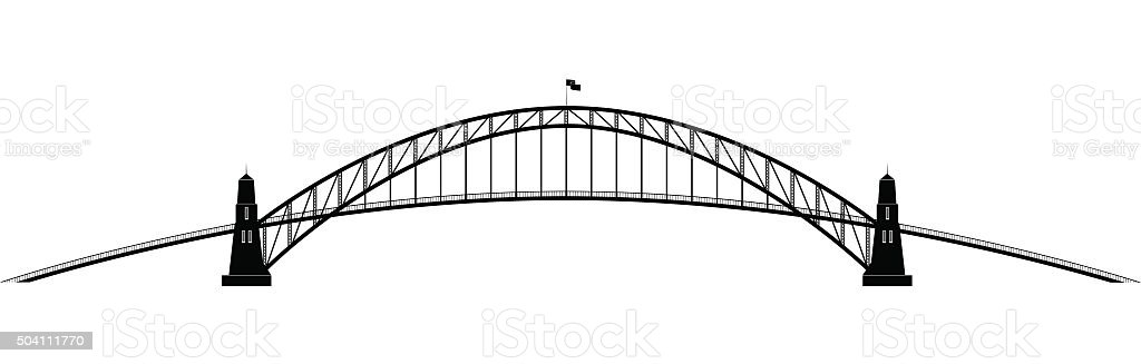 openwork parabolic contour of the bridge vector art illustration