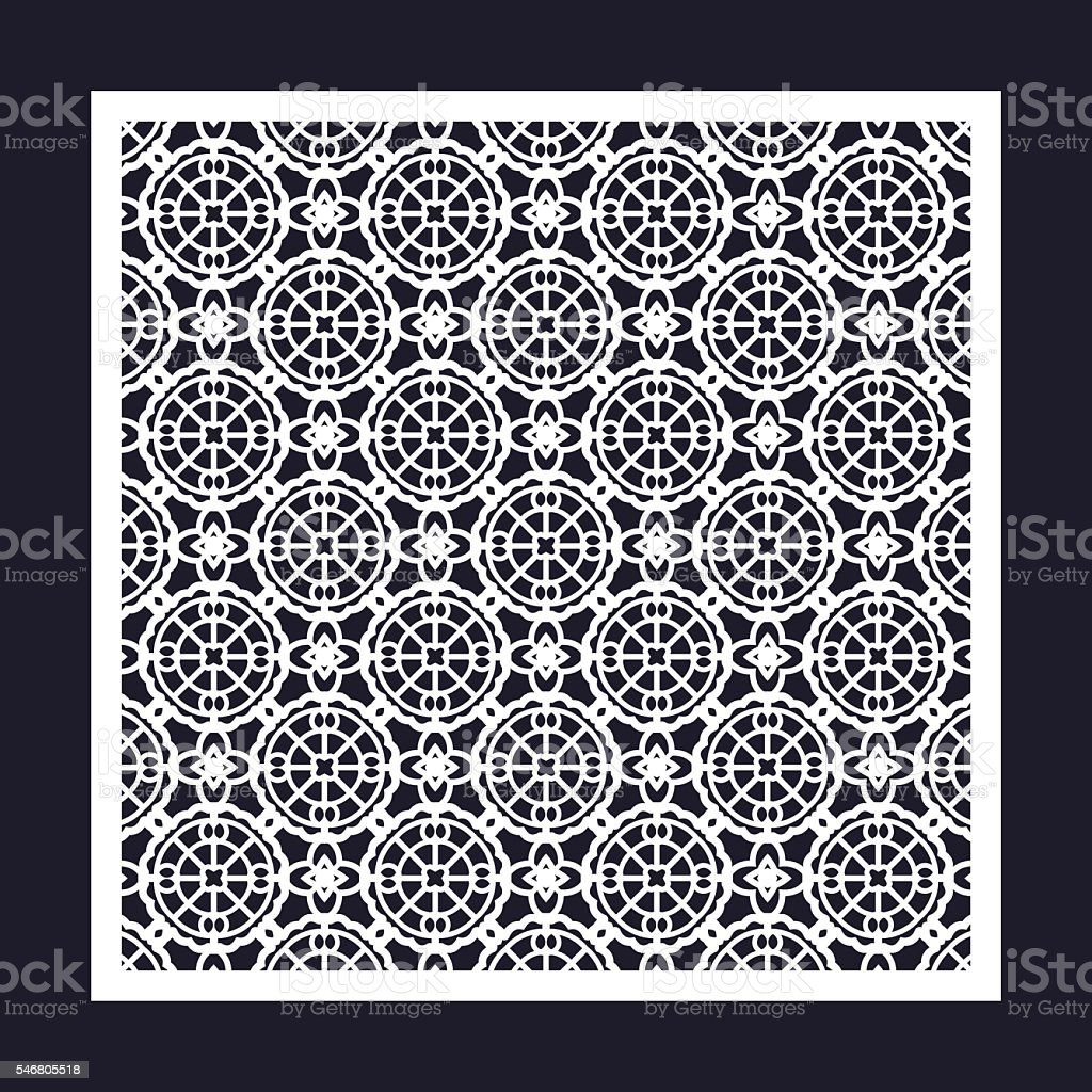 Openwork square frame with geometric pattern. vector art illustration