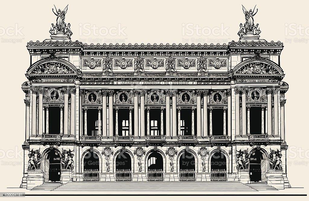 Opera Garnier in Paris vector art illustration