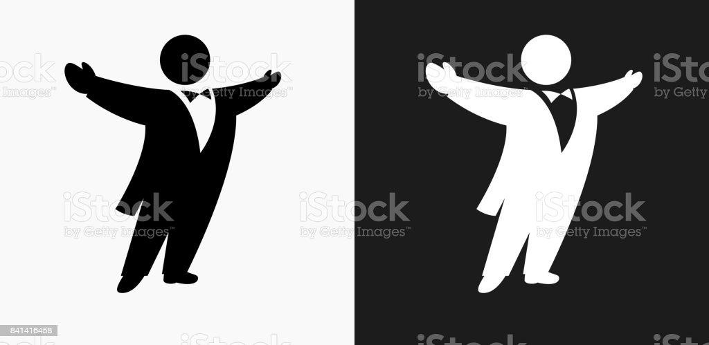 Opera Singer Icon on Black and White Vector Backgrounds vector art illustration