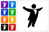 Opera Singer Icon Square Button Set. The icon is in black on a white square with rounded corners. The are eight alternative button options on the left in purple, blue, navy, green, orange, yellow, black and red colors. The icon is in white against these vibrant backgrounds. The illustration is flat and will work well both online and in print.