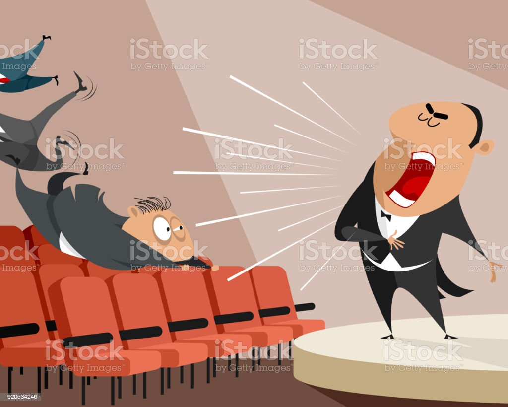 Opera singer on stage vector art illustration
