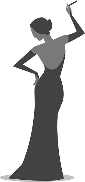 Cantor de ópera silhueta - ilustração de arte em vetor