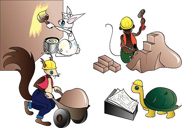 operai - kaninchenbau stock-grafiken, -clipart, -cartoons und -symbole