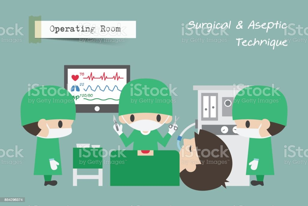 Operating Room ( OR ) . Surgeon , Assistant and Anaesthetist operate on patient . Vector vector art illustration