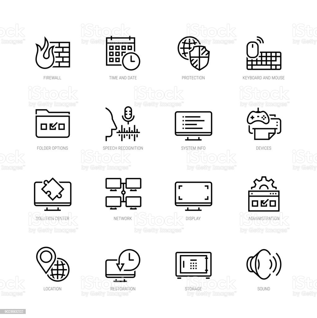 Operating system tools vector icon set in thin line style vector art illustration