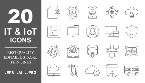 Operating system vector icon set in thin line style. IT and IoT icons, protection, networks. Editable Stroke. EPS 10 vector art illustration