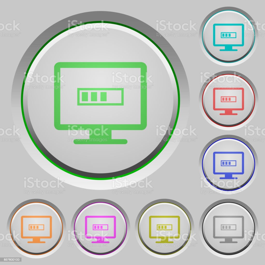 Operation in progress push buttons vector art illustration