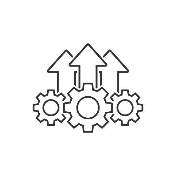bedienung projekt icon in flachem stil. getriebeprozess vektorillustration auf weißem isoliertem hintergrund. technologie produziert geschäftskonzept. - fähigkeit stock-grafiken, -clipart, -cartoons und -symbole