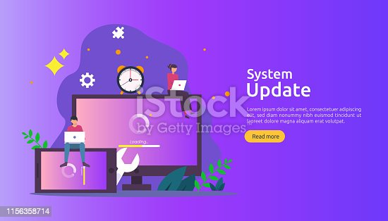 istock operation system update progress concept. data synchronize process and installation program. illustration web landing page template, banner, presentation, UI, poster, ad, promotion or print media 1156358714