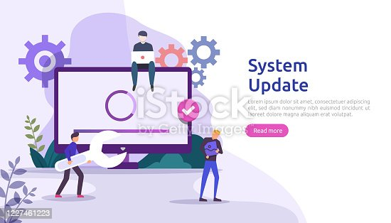 istock operation system update progress concept. data synchronize process and installation program. illustration web landing page template, banner, presentation, UI, poster, ad, promotion or print media. 1227461223