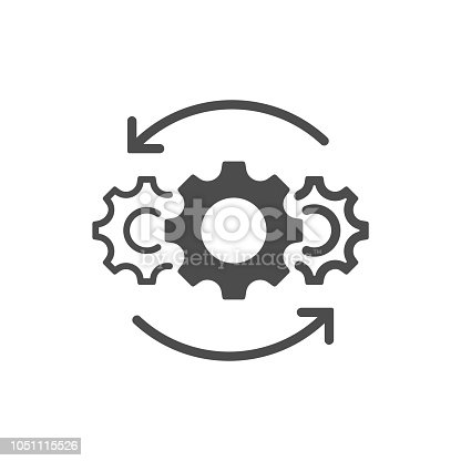 Operations line icon isolated on white background. Vector illustration. Eps 10.