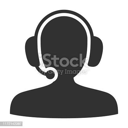 istock Operator icon vector, simple and flat design, minimalist style, black color. 1172142097
