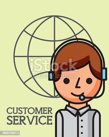 operator man world business customer service vector illustration
