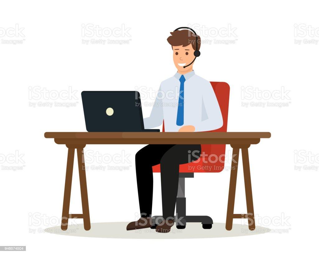 Operador de la oficina de centro de llamada consultoría a un cliente. Trabajador de oficina feliz sentado en el escritorio con ordenador portátil. Concepto de servicio al cliente en línea. Ilustración de vector aislado. - ilustración de arte vectorial