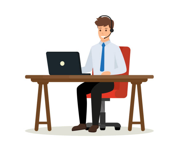 Operator of call center office consulting a client. Happy office worker sitting at desk with laptop computer. Online customer service concept. Vector isolated illustration. Operator of call center office consulting a client. call centre illustrations stock illustrations