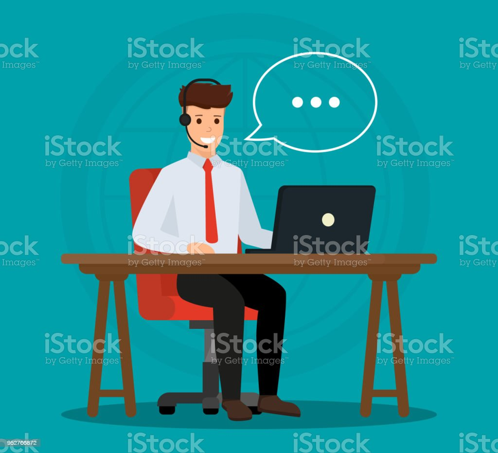 Operator of call center office consulting a client. Online customer service concept. Vector illustration design. vector art illustration