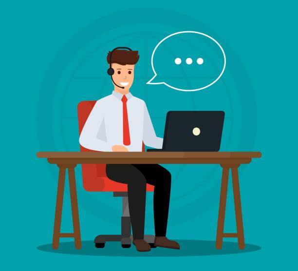 illustrations, cliparts, dessins animés et icônes de opérateur d'appel de l'office consulté un client. concept de service clientèle en ligne. conception d'illustration vectorielle. - centre d'appels