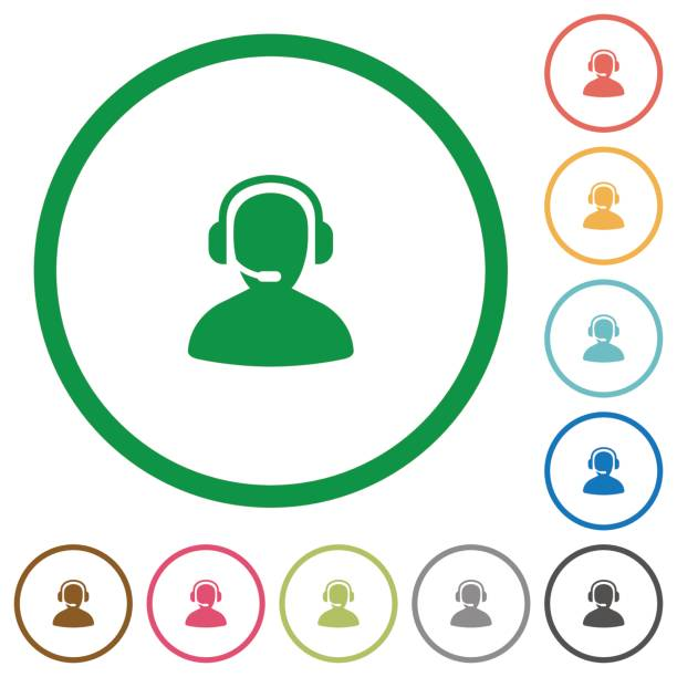 operator outlined flat icons - call center stock illustrations, clip art, cartoons, & icons