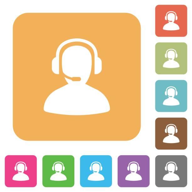 illustrations, cliparts, dessins animés et icônes de opérateur arrondi carré plat icônes - centre d'appels