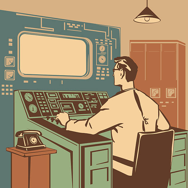 Operator Operator controlling the correct execution of the process retro vector illustration switchboard operator vintage stock illustrations