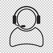 Operator with microphone vector icon. Operator in call center illustration.